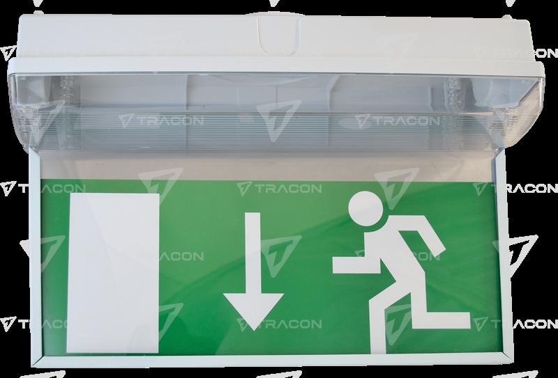 Cartello exit per tlbv freccia in gi lampada di emergenza